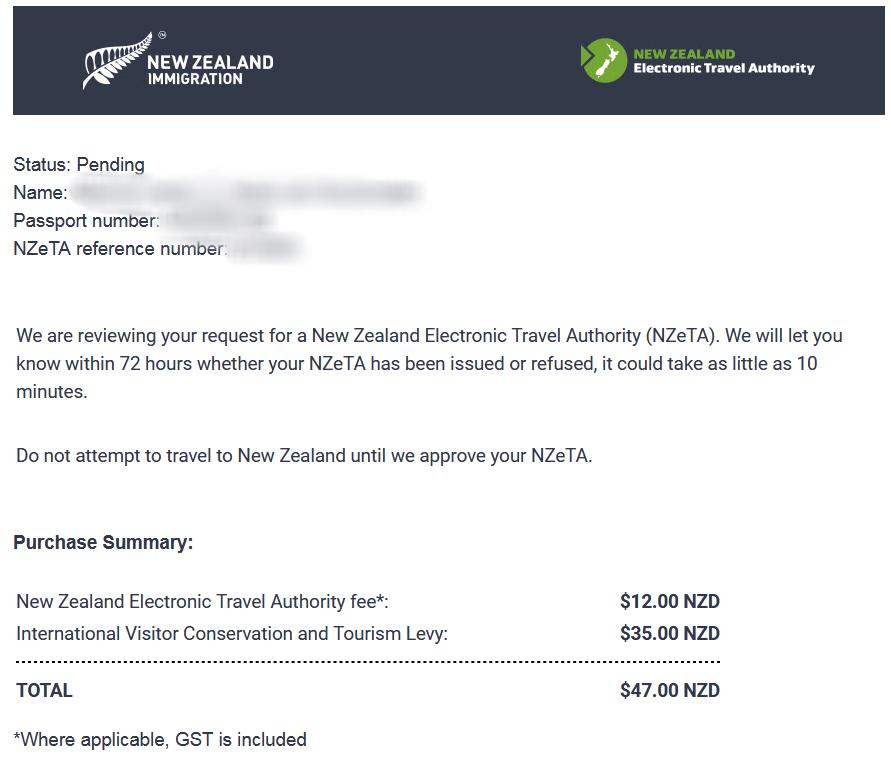 e-mail bevestiging NZeTA aanvraag